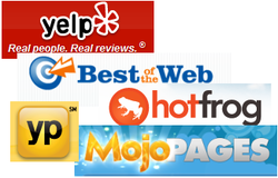 Yelp, HotFrog, YP, MojoPages, Best of the Web.