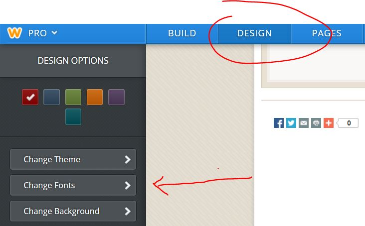 Weebly editor: dDesign Tab and Change Fonts tab.