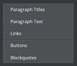 Weebly element font options for paragraph titles. paragraph text, links, buttons and blockquotes.