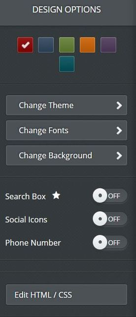 Weebly design options.