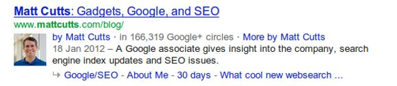 Google Authorship rich snippet with profile photo and byline.